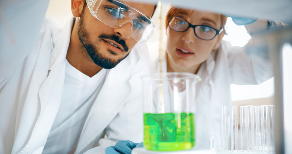Two chemist working together in laboratory developing green chemistry.  Nouryon has long been an industry leader in sustainability and our commitment to maximizing our positive societal impact remains unchanged. Going forward, we will continue to expand our portfolio of eco-premium products, which have a significant sustainability benefit over common alternatives.