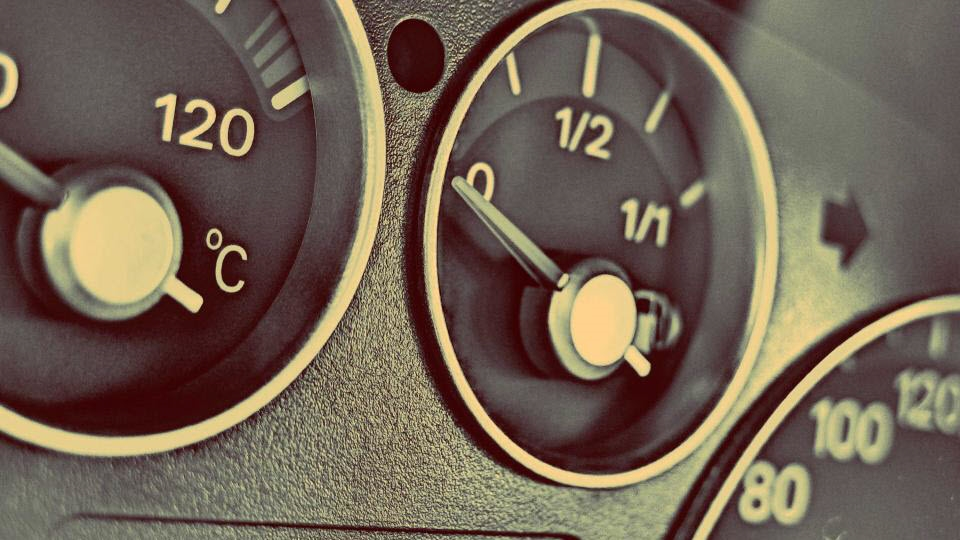 Fuel gauges in a vehicle.